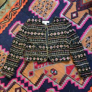 Gold Beaded Black Silk Party Jacket sz M